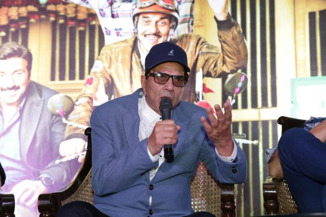 New Delhi: Actor Dharmendra during a press conference and song launch