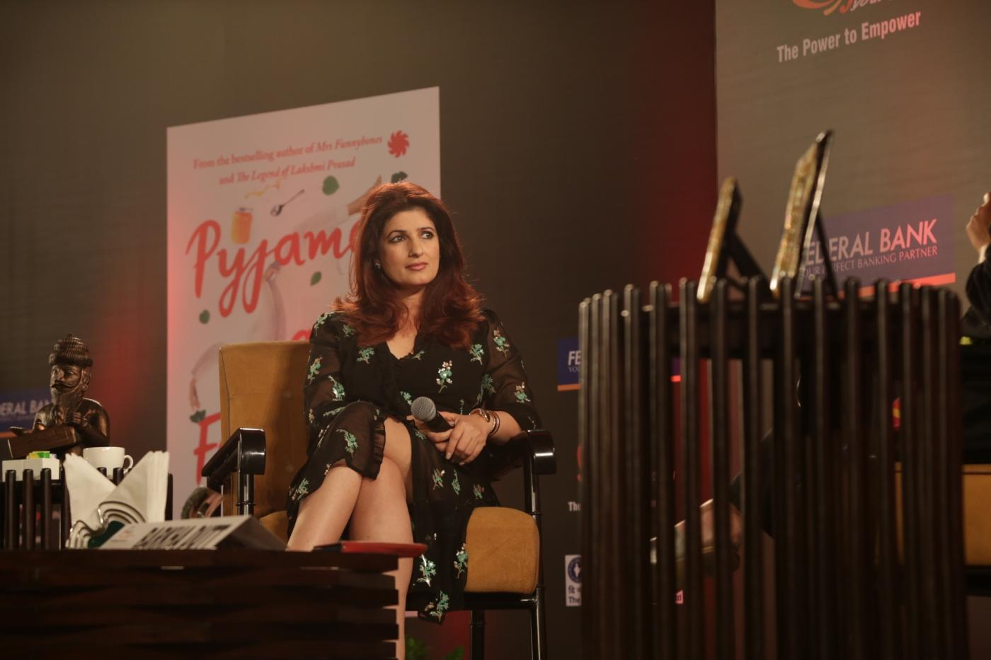 "New Delhi: Actor-turned-author Twinkle Khanna attends a FICCI YFLO session ""Pyjamas are Forgiving"" in New Delhi on Sept 19, 2018. (Photo: Amlan Paliwal/IANS) by ."