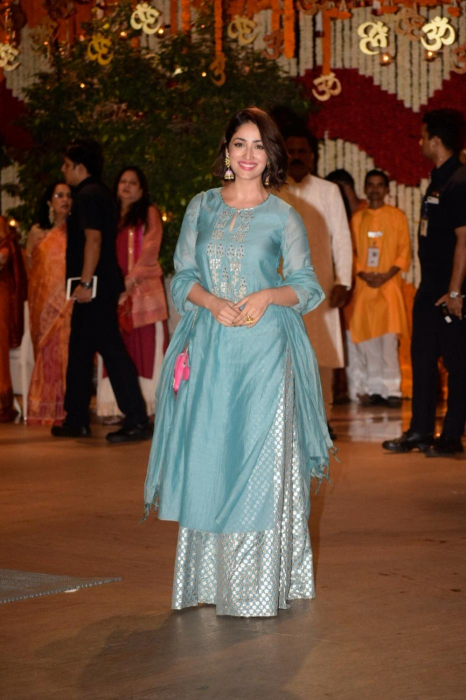Mumbai: Actress Yami Gautam arrives at Reliance Industries Chairman and MD Mukesh Ambani's residence to celebrate Ganesh Chaturthi in Mumbai on Sept 13, 2018. (Photo: IANS) by .