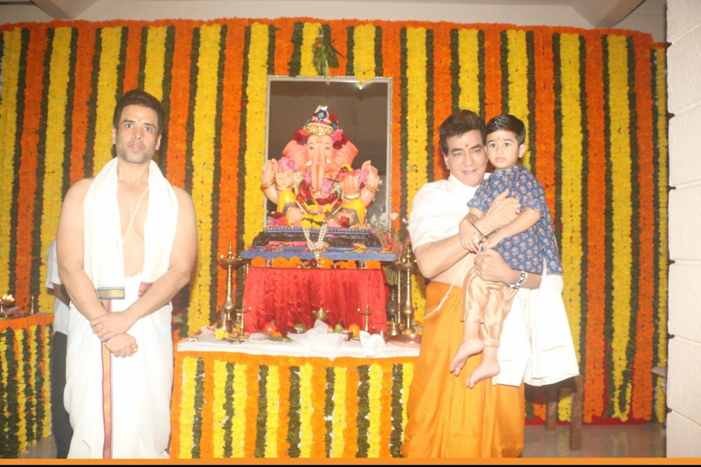 Mumbai: Actor Jeetendra, Tusshar Kapoor and his son Laksshya Kapoor offer prayers to Lord Ganesha on the occasion of Ganesh Chaturthi, in Mumbai on Sept 13, 2018. (Photo: IANS) by .