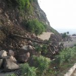 Himachal Pradesh: The damaged newly laid Parwanoo-Shimla national highway 5 near Kumarhatti town in Himachal Pradesh after rains. (Photo: Vishal Gulati/IANS) by .
