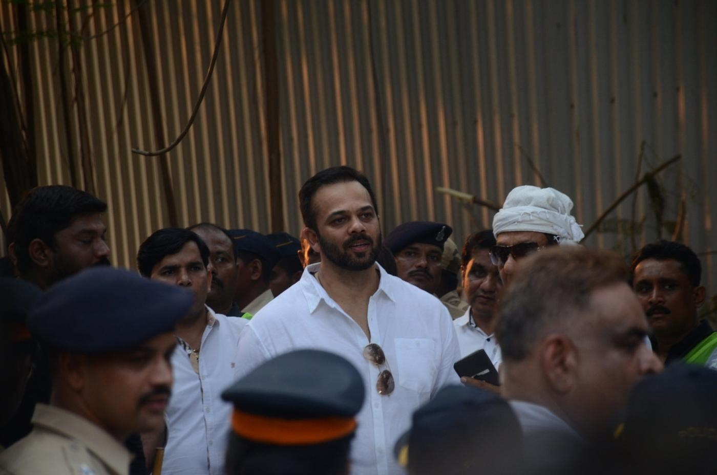 Mumbai: Director Rohit Shetty at the funeral of late actress Sridevi in Mumbai on Feb 28, 2018. Veteran actress Sridevi passed away following accidental drowning in a bathtub in her hotel room in Dubai on Saturday night. She was 54. The actress was in Dubai to attend the marriage function of actress Sonam Kapoor's cousin Mohit Marwah, along with husband Boney Kapoor and younger daughter Khushi Kapoor. (Photo: IANS) by .