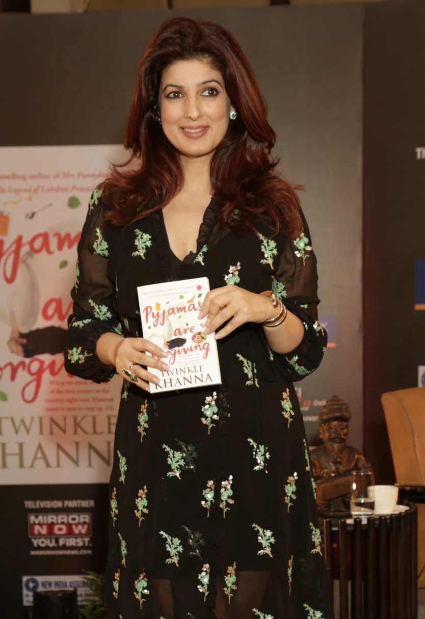 """New Delhi: Actor-turned-author Twinkle Khanna attends a FICCI YFLO session """"Pyjamas are Forgiving"""" in New Delhi on Sept 19, 2018. (Photo: Amlan Paliwal/IANS) by ."""