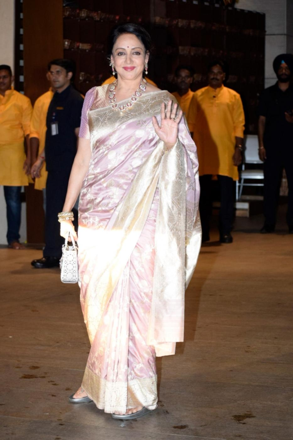 Mumbai: BJP MP Hema Malini at Reliance Industries Chairman and MD Mukesh Ambani's residence to celebrate Ganesh Chaturthi in Mumbai on Sept 13, 2018. (Photo: IANS) by .