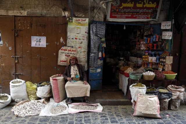 SANAA, Sept. 19, 2018 (Xinhua) -- A Yemeni seller waits for customers at a market in Sanaa, Yemen, on Sept. 19, 2018. In the historical old city of Yemen's capital Sanaa, people here are suffering badly from war and air-sea-land blockade that has been devastating lives of more than 25 million population for over three years. (Xinhua/Mohammed Mohammed/IANS) by .