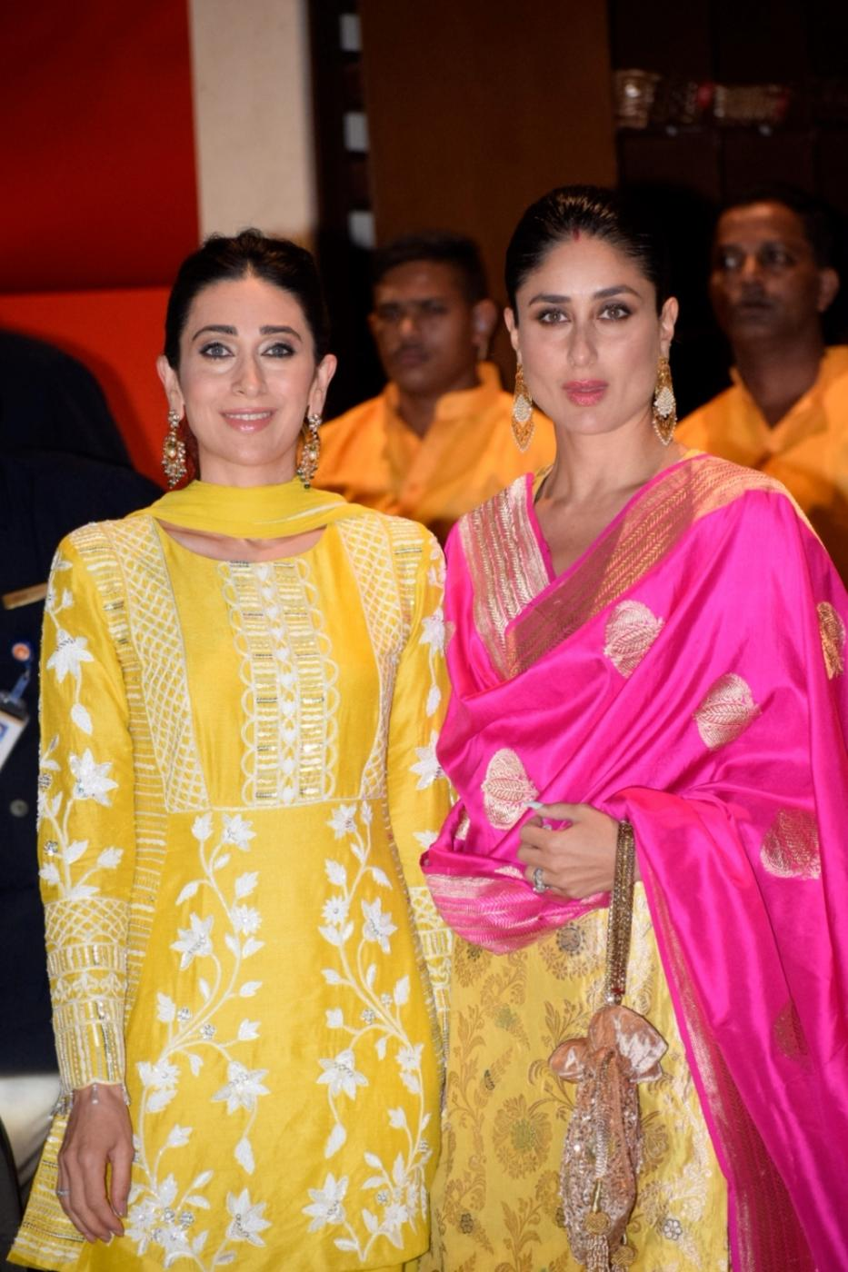 Mumbai: Actresses Karisma Kapoor and Kareena Kapoor Khan arrive at Reliance Industries Chairman and MD Mukesh Ambani's residence to celebrate Ganesh Chaturthi in Mumbai on Sept 13, 2018. (Photo: IANS) by .