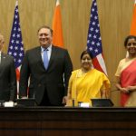 New Delhi: External Affairs Minister Sushma Swaraj and Defence Minister Nirmala Sitharaman with US Secretary of State Mike Pompeo and Defence Secretary James Mattis during a press briefing after the India-US 2+2 Strategic Dialogue meeting, in New Delhi on Sept 6, 2018. (Photo: IANS/DPRO) by .