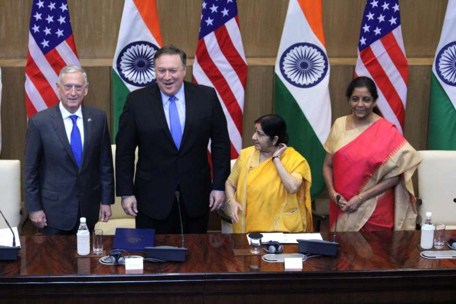 New Delhi: External Affairs Minister Sushma Swaraj and Defence Minister Nirmala Sitharaman with US Secretary of State Mike Pompeo and Defence Secretary Jim Mattis during high-level 2+2 dialogue in New Delhi on Sept 6, 2018. (Photo: Amlan Paliwal/IANS) by .
