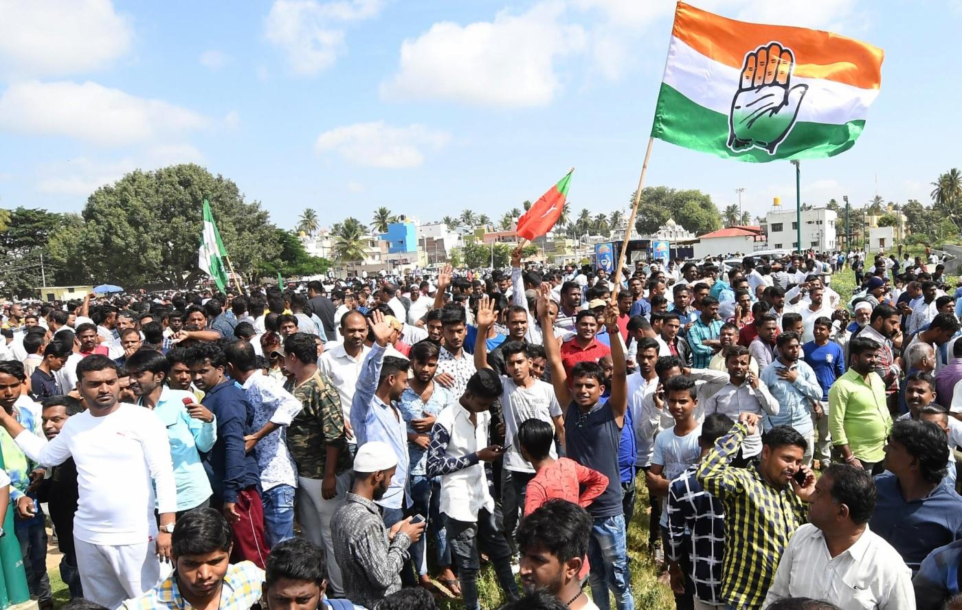 Mysuru: Congress workers celebrate the party's performance in the polls conducted for 105 Urban Local Bodies (ULBs) across Karnataka, outside a counting center in Mysuru on Sept 3, 2018. (Photo: IANS) by .