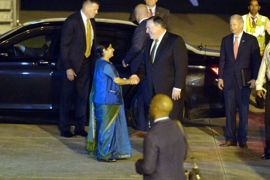 New Delhi: External Affairs Minister Sushma Swaraj greets US Secretary of State Mike Pompeo on his arrival at Palam Airforce Station, to attend first ever '2+2 Dialogue' between the two nations, in New Delhi on Sept 5, 2018. (Photo: IANS) by .