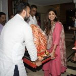 Mumbai: Actress Shilpa Shetty Kundra and her husband Raj Kundra welcome Lord Ganesha, on the eve of Ganesh Chaturthi in Mumbai on Sept 12, 2018. (Photo: IANS) by .