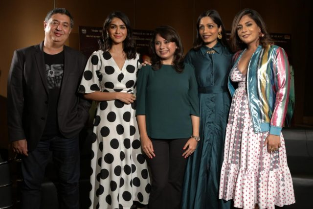 New Delhi: Director Tabrez Noorani with actors Mrunal Thakur, Freida Pinto and Richa Chadda during a promotional photoshoot for their upcoming film