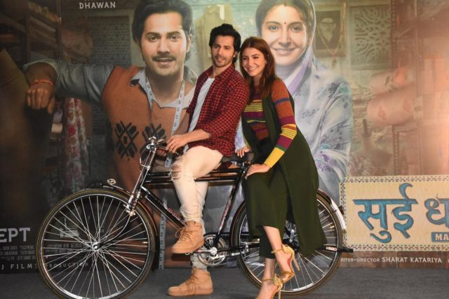 Mumbai: Actors Varun Dhawan and Anushka Sharma at the promotion of their film