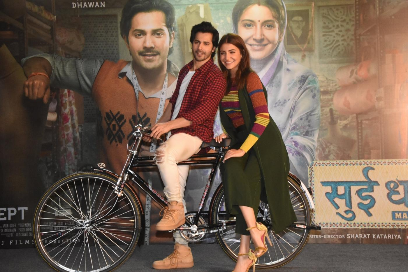 """Mumbai: Actors Varun Dhawan and Anushka Sharma at the promotion of their film """"Sui Dhaaga: Made in India"""" in Mumbai on Sept 27, 2018. (Photo: IANS) by ."""
