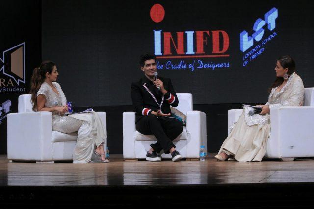 Mumbai: Fashion designer Manish Malhotra and actors Neha Dhupia with Malaika Arora at the launch of 'Learn from Manish Malhotra' programme in Mumbai, on June 20, 2018. (Photo: IANS) by .