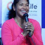 Kolkata: Swapna Barman, India's first-ever Asian Games gold medal winner in heptathlon addresses a press conference, in Kolkata on Sept 12, 2018. (Photo: IANS) by .