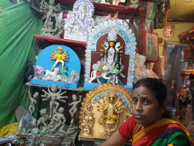 Mala Pal with her miniature Durga idol. by .