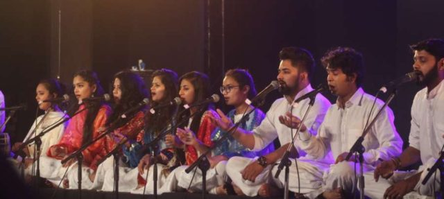 New Delhi: Students of Indian classical maestro, Ustad Iqbal Ahmed Khan perform during Youth Festival in New Delhi on Feb 24, 2018. (Photo: IANS) by .