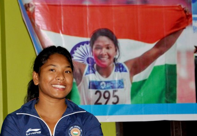 Kolkata: Indian woman heptathlete Swapna Barman, who clinched a gold at the recently concluded 18th Asian Games; during a felicitation programme at SAI complex in Kolkata on Sept 7, 2018. (Photo: Kuntal Chakrabarty/IANS) by .