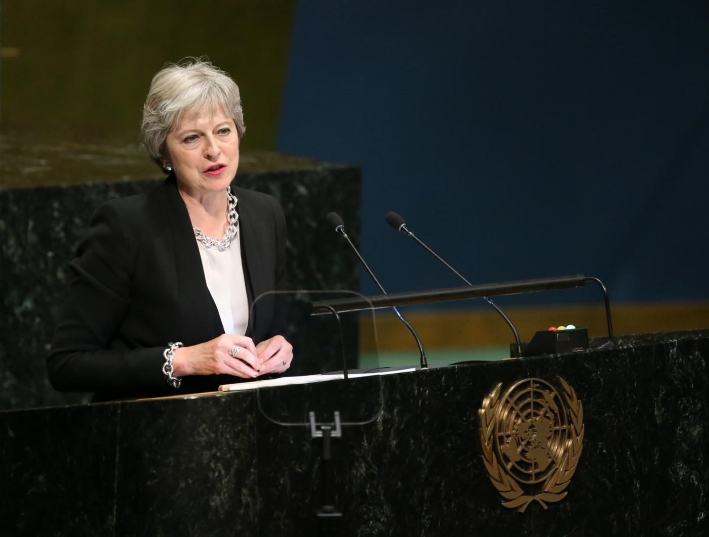 UNITED NATIONS, Sept. 26, 2018 (Xinhua) -- British Prime Minister Theresa May addresses the General Debate of the 73rd session of the United Nations General Assembly at the UN headquarters in New York, on Sept. 26, 2018. (Xinhua/Qin Lang/IANS) by .