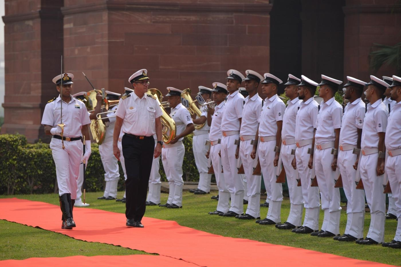 New Delhi: German Navy Chief Vice Admiral Andreas Krause inspects the Guard of Honour in New Delhi, on Oct 18, 2018. (Photo: IANS) by .
