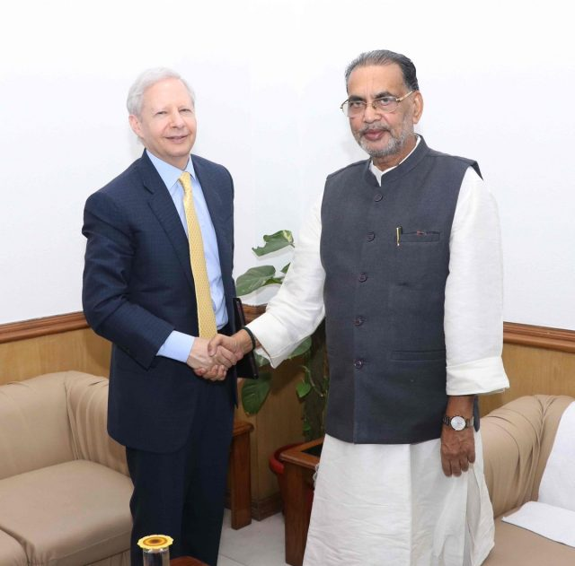 New Delhi: US Ambassador to India Kenneth I. Juster meets Union Agriculture and Farmers Welfare Minister Radha Mohan Singh in New Delhi, on Oct 17, 2018. (Photo: IANS/PIB) by .
