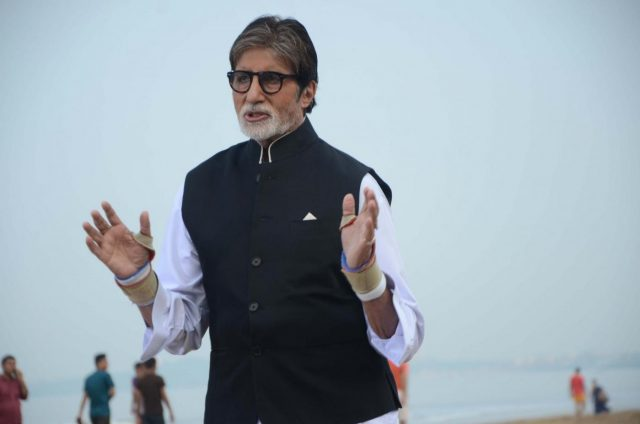 Mumbai: Actor Amitabh Bachchan during a media interaction at Juhu beach in Mumbai on Oct 2, 2018. (Photo: IANS) by .
