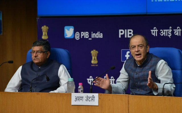 New Delhi: Union Finance and Corporate Affairs Minister Arun Jaitley addresses during a press conference after a cabinet briefing, along with Union Electronics and Information Technology and Law and Justice Minister Ravi Shankar Prasad in New Delhi, on Oct 24, 2018. Government on Wednesday rejected as