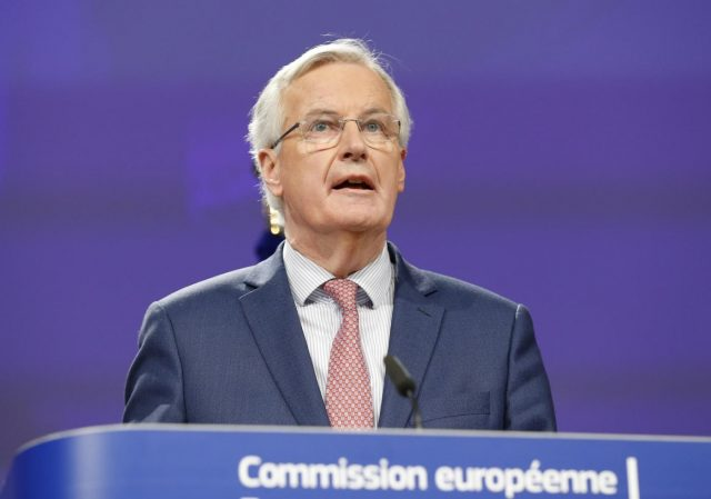 BRUSSELS, March 19, 2018 (Xinhua) -- European Union's chief Brexit negotiator Michel Barnier attends the press conference with British Brexit Secretary David Davis (not seen) after a new round of negotiations on Brexit talks in Brussels, Belgium, March 19, 2018. (Xinhua/Ye Pingfan/IANS) by .