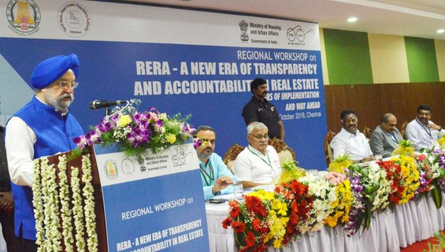 Chennai: Union MoS Housing and Urban Affairs Hardeep Singh Puri addresses the regional workshop on RERA – a New Era of Transparency and Accountability in Real Estate – 2 years of implementation and way forward, in Chennai, on Oct 12, 2018. (Photo: IANS/PIB) by .
