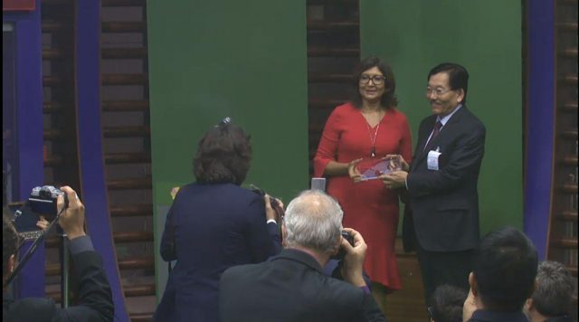 Rome (Italy): Sikkim Chief Minister Pawan Kumar Chamling receives United Nations Food and Agriculture Organisation's (FAO) Future Policy Gold Award for state's achievement in becoming the world's first totally organic agriculture state; in Rome, Italy on Oct 15, 2018. (Photo: IANS/Video Grab) by .