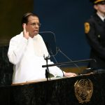 UNITED NATIONS, Sept. 25, 2018 (Xinhua) -- Sri Lankan President Maithripala Sirisena (Front) addresses the General Debate of the 73rd session of the United Nations General Assembly at the UN headquarters in New York, on Sept. 25, 2018. (Xinhua/Qin Lang/IANS) by .