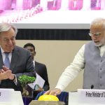 New Delhi: Prime Minister Narendra Modi and United Nations Secretary-General Antonio Guterres at the second Global RE-Invest - investment summit in New Delhi on Oct 2, 2018. (Photo: Amlan Paliwal/IANS) by .