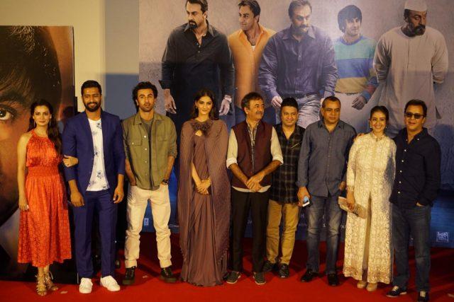 Mumbai: Filmmakers Rajkumar Hirani and Vidhu Vinod Chopra with actors Diya Mirza, Vicky Kaushal, Ranbir Kapoor, Sonam Kapoor, Paresh Rawal and Manisha Koirala and T-Series MD Bhushan Kumar at the trailer launch of their upcoming film