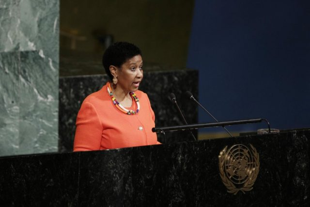 UNITED NATIONS, March 12, 2018 (Xinhua) -- Executive Director of UN Women Phumzile Mlambo-Ngcuka addresses the opening meeting of the 62nd session of the Commission on the Status of Women at the United Nations headquarters in New York, March 12, 2018. United Nations Secretary-General Antonio Guterres said Monday that it is important to change the unequal power dynamics that underpin discrimination and violence against women.