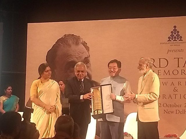 New Delhi: Sikkim Chief Minister Pawan Chamling receives the JRD Tata Memorial Awards for Sikkim as the best performing high focus north eastern state; in New Delhi on Oct 12, 2018. (Photo: Twitter/@pawanchamling5) by .