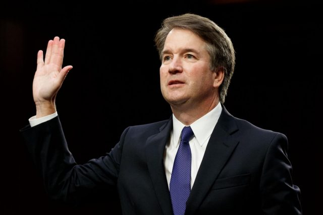 WASHINGTON, Sept. 5, 2018 (Xinhua) -- U.S. Supreme Court nominee Judge Brett Kavanaugh swears in during his Senate confirmation hearing on Capitol Hill in Washington D.C., the United States, Sept. 4, 2018. The Senate confirmation hearing for Kavanaugh began Tuesday, which has descended into chaos as Democrats protested about Republicans blocking access to documents concerning the judge. (Xinhua/Ting Shen/IANS) by .