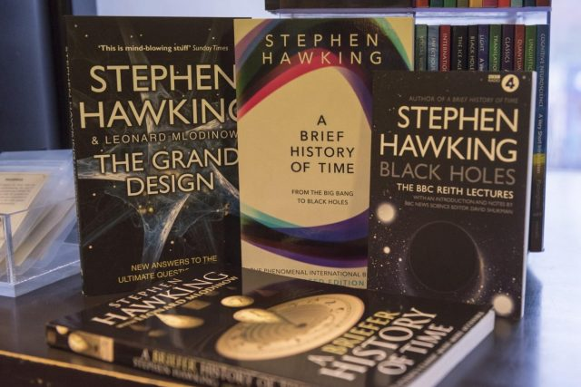 LONDON, March 14, 2018 (Xinhua) -- World renowned physicist Stephen Hawking's books are seen at a bookshop in London, Britain, on March 14, 2018. Renowned British physicist Stephen Hawking died peacefully at home in the British university city of Cambridge in the early hours of Wednesday at the age of 76, his family spokesman said. (Xinhua/Stephen Chung/IANS) by .