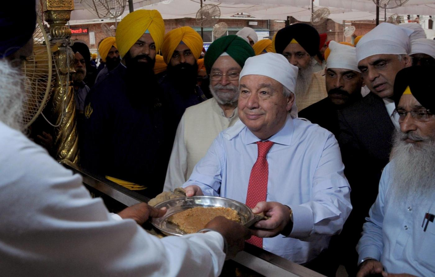 United Nations Secretary-General Antonio Guterres eats langar at the Golden Temple in Amritsar on Oct 3, 2018. (Photo: IANS) by .