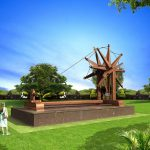 An artists impression of world's biggest 'charkha' or spinning wheel that will be unveiled outside Sevagram Ashram complex on Mahatma Gandhi's 150th birth anniversary in Wardha, Maharashtra. The approximately 31-feet X 19-feet charkha will be bigger than that installed at the Delhi airport. by .