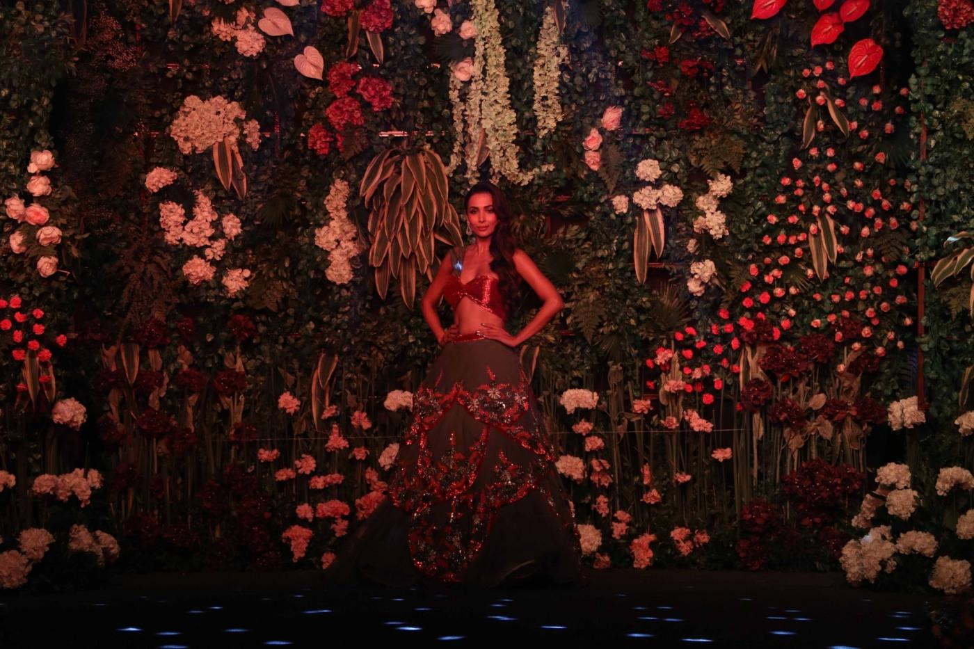 Mumbai: Actress Malaika Arora walks the ramp during the Wedding Junction Show in Mumbai on Oct 27, 2018. (Photo: IANS) by .