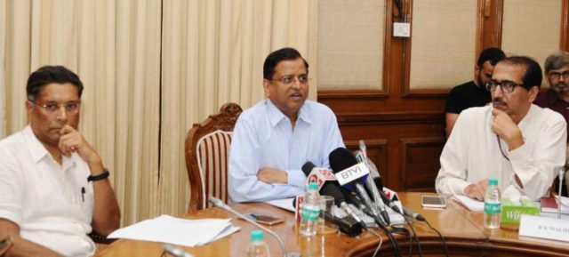 New Delhi: Department of Economic Affairs Secretary S.C. Garg addresses a press conference on GDP in New Delhi on May 31, 2018. Also seen Chief Economic Adviser, Dr. Arvind Subramanian. (Photo: IANS/PIB) by .