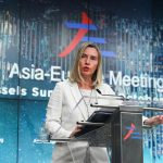BRUSSELS, Oct. 20, 2018 (Xinhua) -- EU's foreign affairs and security policy chief Federica Mogherini speaks during a press conference of the 12th Asia-Europe Meeting Summit in Brussels, Belgium, Oct. 19, 2018. The two-day Asia-Europe meeting summit wrapped up on Friday in Brussels has called on more connectivity between Europe and Asia. (Xinhua/Zheng Huansong/IANS) by .