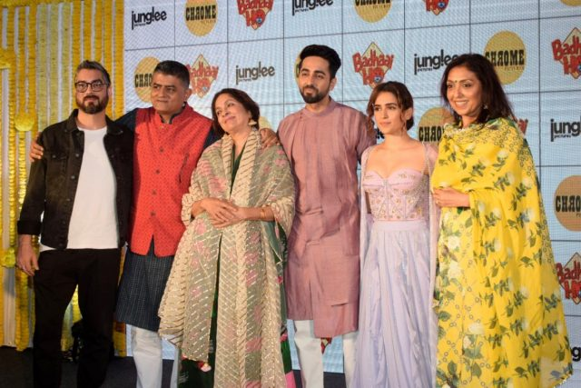 Mumbai: Director Amit Sharma, actors Gajraj Rao, Neena Gupta, Ayushmann Khurrana and Sanya Malhotra during a baby shower for expecting mothers in Mumbai on Oct 10, 2018.(Photo: IANS) by .