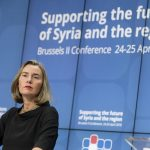"BRUSSELS, April 25, 2018 (Xinhua) -- EU foreign policy chief Federica Mogherini speaks during a press conference after the conference on ""Supporting the future of Syria and the region"" at EU council headquarters in Brussels, Belgium, April 25, 2018. (Xinhua/Thierry Monass/IANS) by ."