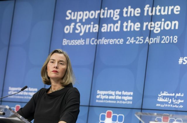 BRUSSELS, April 25, 2018 (Xinhua) -- EU foreign policy chief Federica Mogherini speaks during a press conference after the conference on