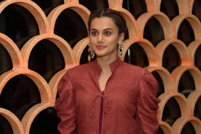 Greater Noida: Actress Taapsee Pannu at the promotion of her upcoming film