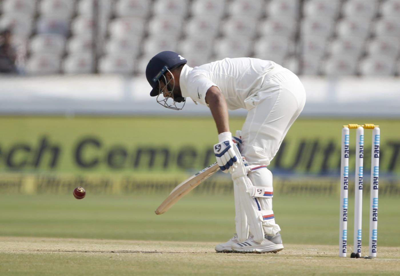 Hyderabad: India's Rishabh Pant in action on Day 3 of the Second Test match between India and West Indies at Rajiv Gandhi International Stadium in Hyderabad on Oct 14, 2018. (Photo: Surjeet Yadav/IANS) by .