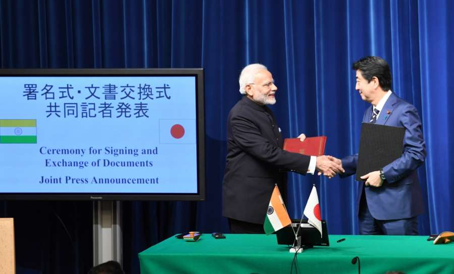 Tokyo: Prime Minister Narendra Modi and Japanese Prime Minister Shinzo Abe at the ceremony for signing and exchange of agreements in Tokyo, Japan on Oct 29, 2018. (Photo: IANS/PIB) by .