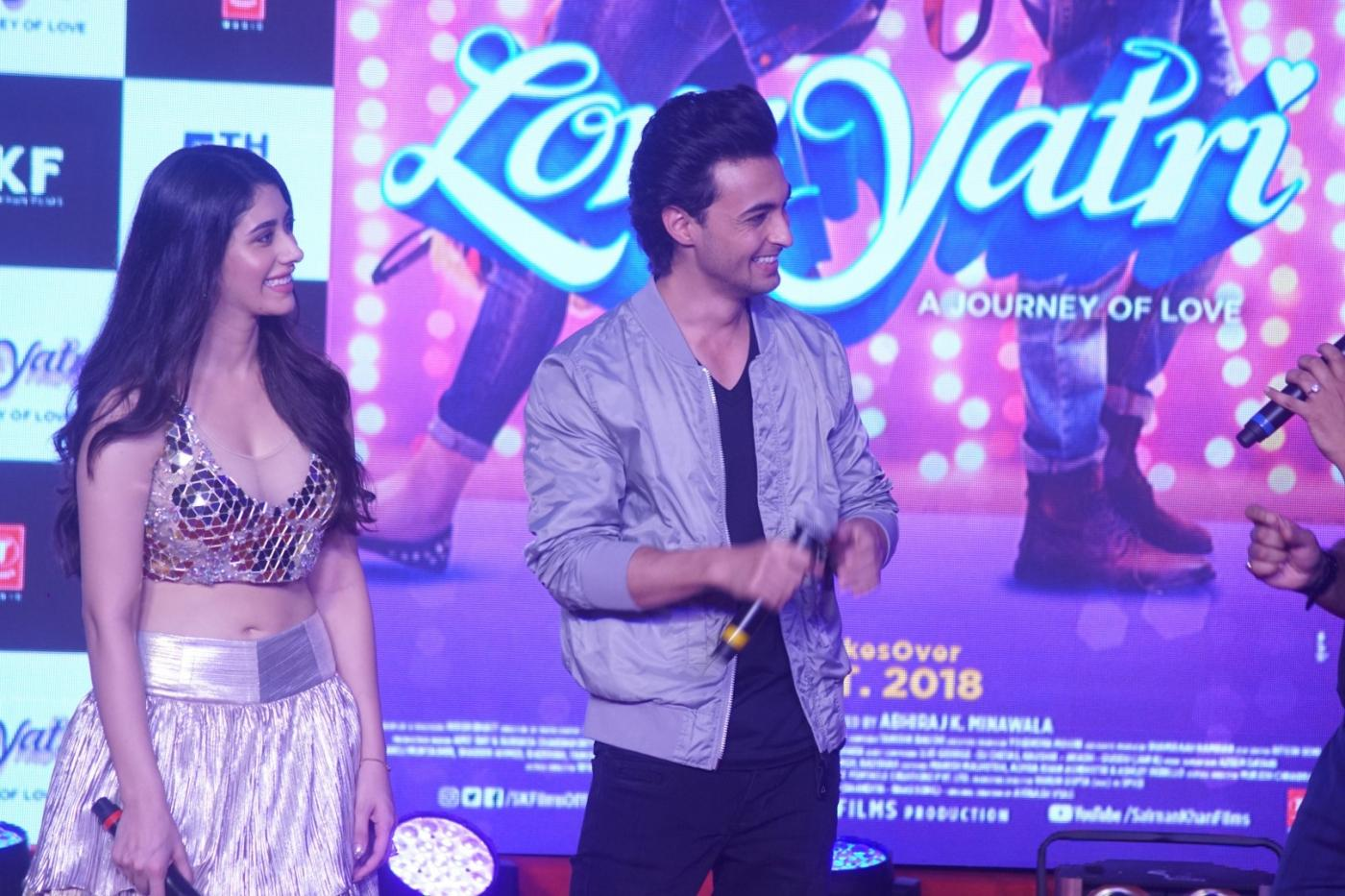 "Mumbai: Actors Warina Hussain and Aayush Sharma at musical concert celebrating the journey of upcoming film ""Loveyatri"" in Mumbai on Sept 26, 2018. (Photo: IANS) by ."